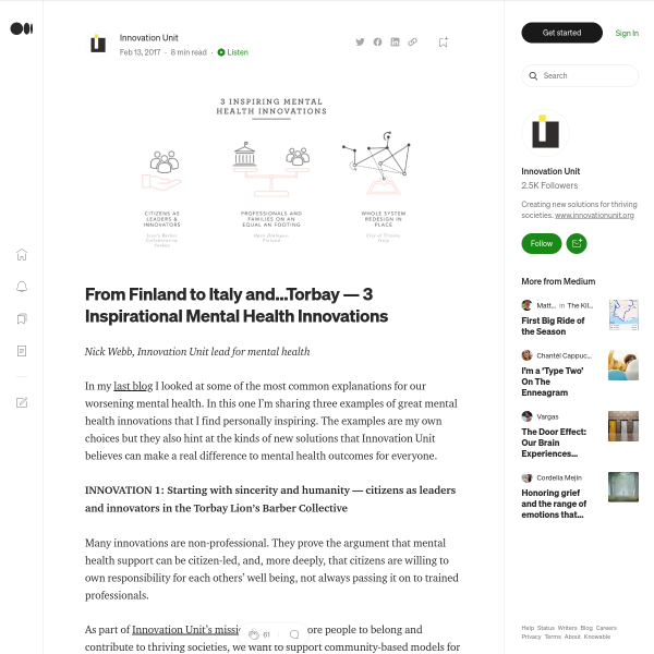 From Finland to Italy and…Torbay — 3 Inspirational Mental Health Innovations