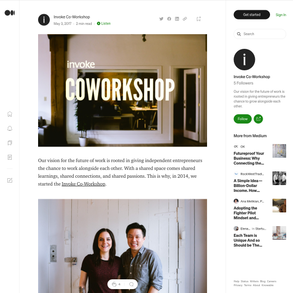 Working Alongside Innovation: Life in Invoke's Co-Workshop