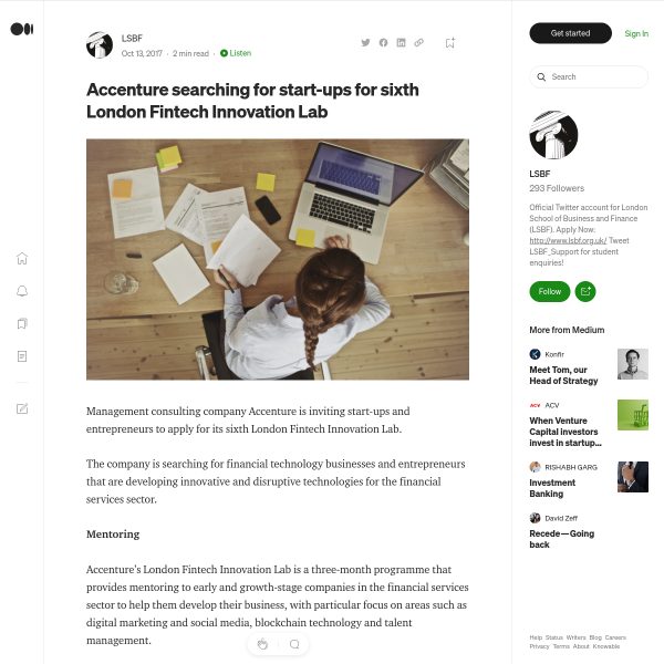 Accenture searching for start-ups for sixth London Fintech Innovation Lab