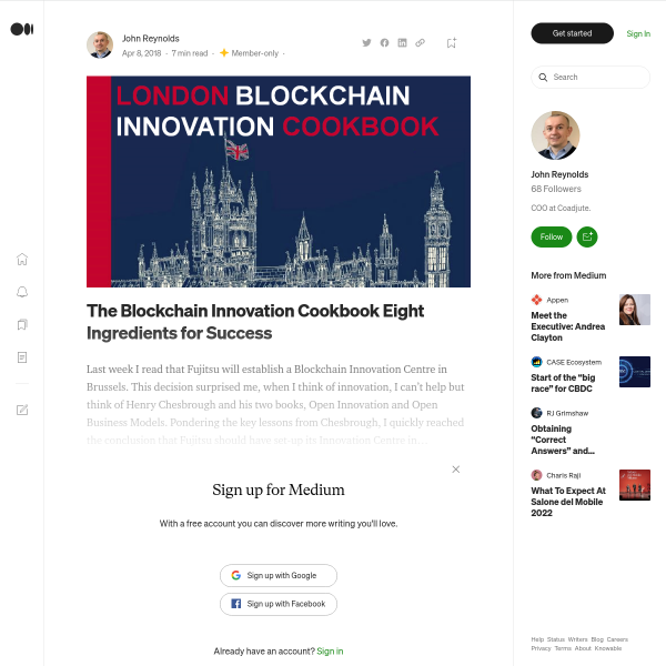 The Blockchain Innovation Cookbook Eight Ingredients for Success