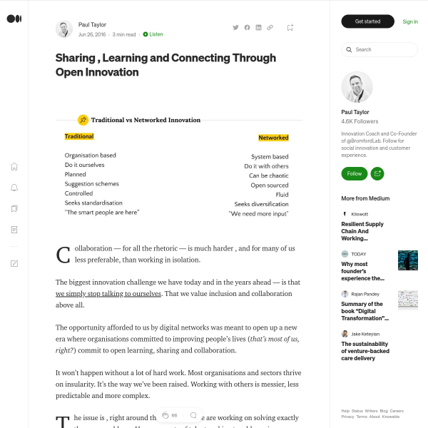Sharing , Learning and Connecting Through Open Innovation