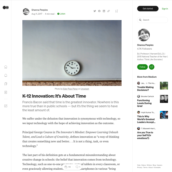 K-12 Innovation: It's About Time – Shanna Peeples – Medium