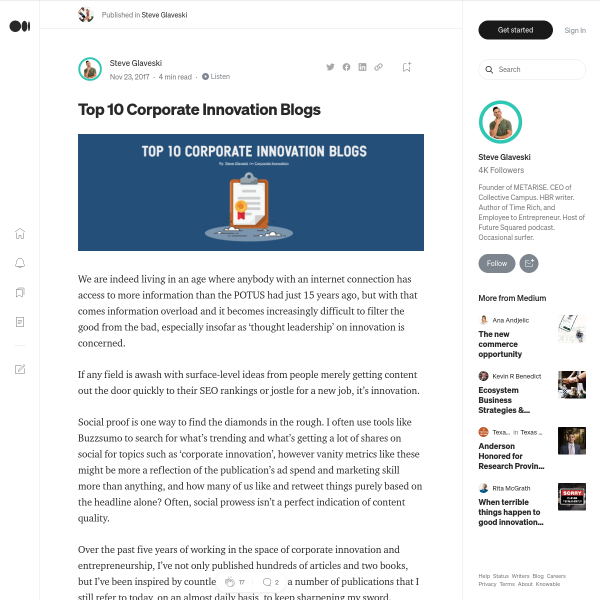 Top 10 Corporate Innovation Blogs – Steve Glaveski – Medium
