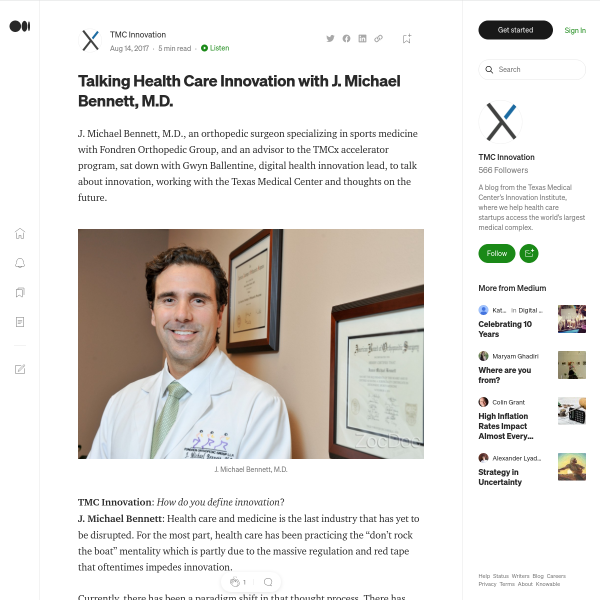 Talking Health Care Innovation with J. Michael Bennett, M.D.