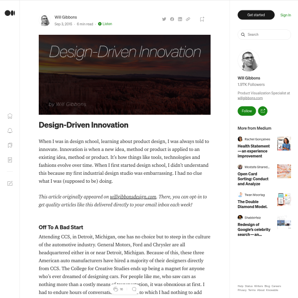 Design-Driven Innovation – Will Gibbons – Medium