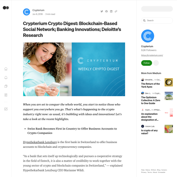 Crypterium Crypto Digest: Blockchain-Based Social Network; Banking Innovations; Deloitte's Research
