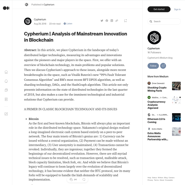 Analysis of mainstream innovation technology in blockchain
