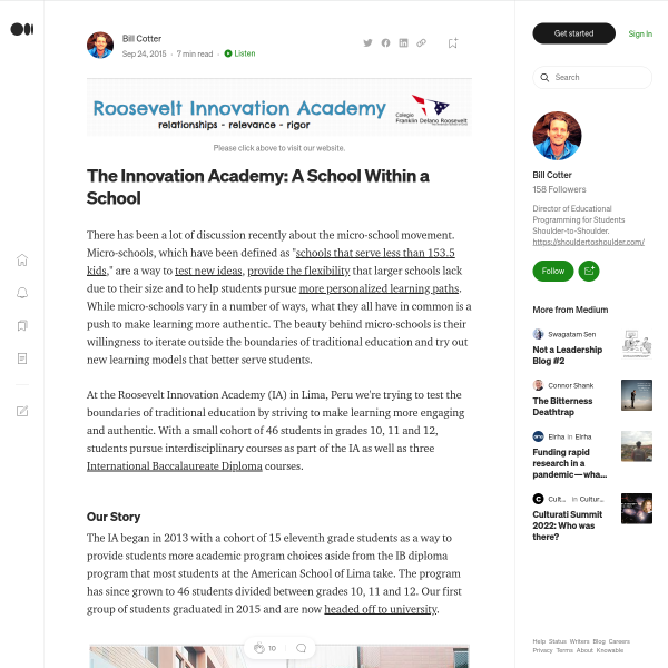 The Innovation Academy: A School Within a School – Bill Cotter – Medium