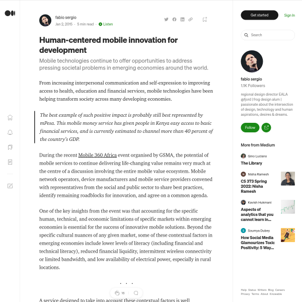 Human-centered mobile innovation for development – fabio sergio – Medium