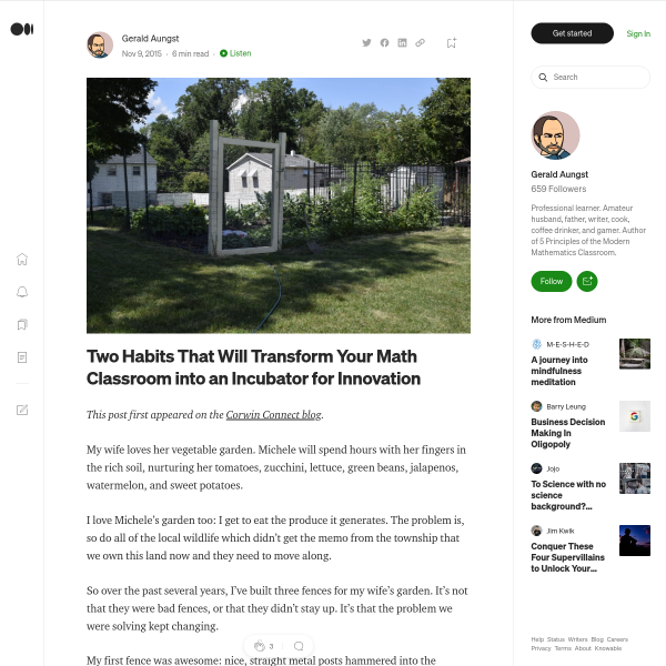 Two Habits That Will Transform Your Math Classroom into an Incubator for Innovation