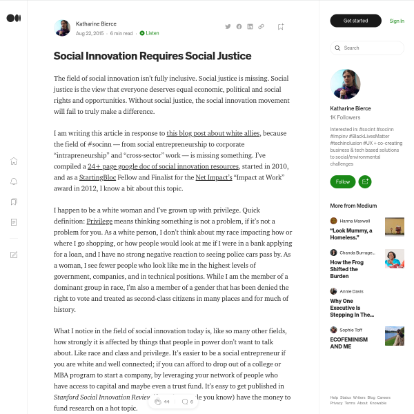 Social Innovation Requires Social Justice – Katharine Bierce – Medium