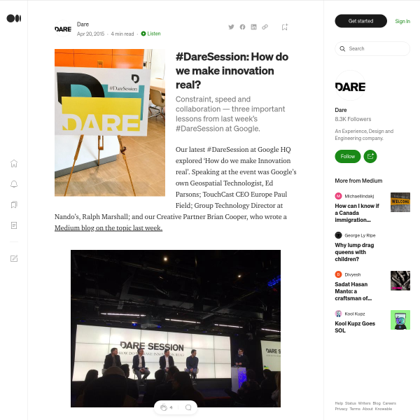 #DareSession: How do we make innovation real? – Dare – Medium