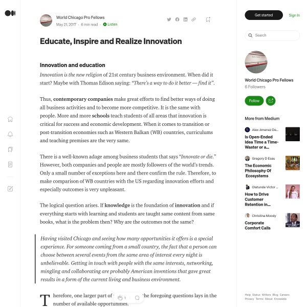 Educate, Inspire and Realize Innovation – World Chicago Pro Fellows – Medium