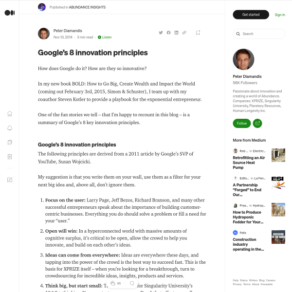 Google's 8 innovation principles – ABUNDANCE INSIGHTS – Medium