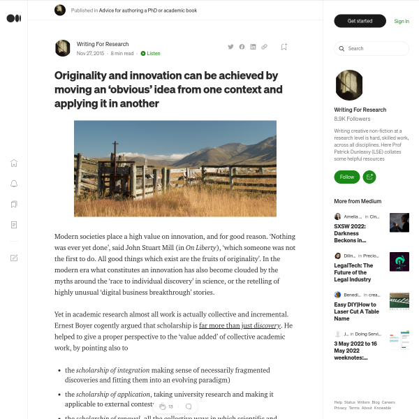 Originality and innovation can be achieved by moving an 'obvious' idea from one context and…