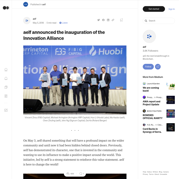 aelf announced the inauguration of the Innovation Alliance
