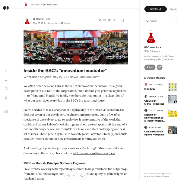 "Inside the BBC's ""innovation incubator"" – BBC News Labs – Medium"