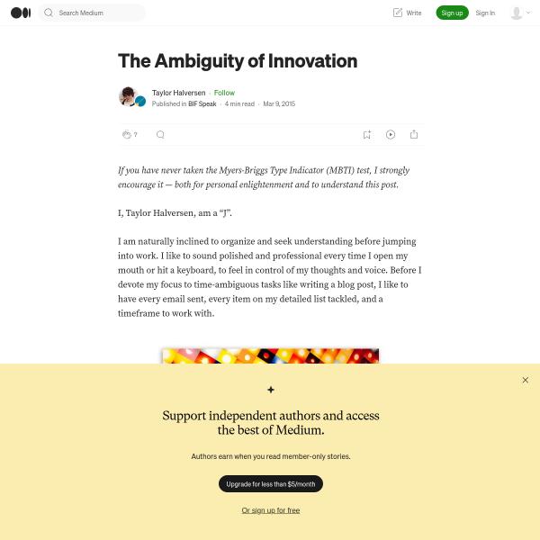 The Ambiguity of Innovation – BIF Speak – Medium