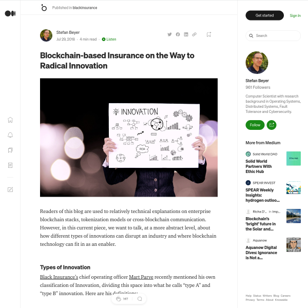 Blockchain-based Insurance on the Way to Radical Innovation