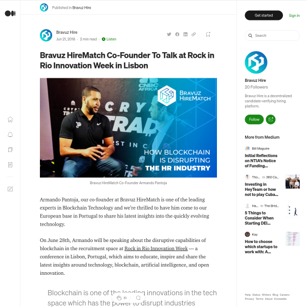 Bravuz HireMatch Co-Founder To Talk at Rock in Rio Innovation Week in Lisbon
