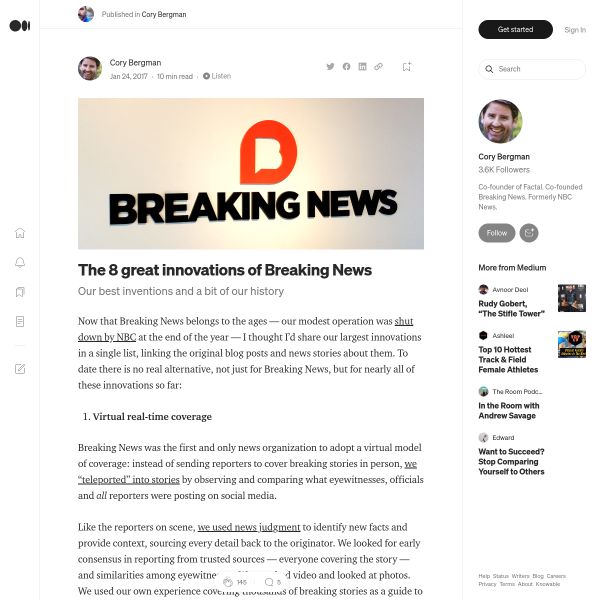 The 8 great innovations of Breaking News – Cory Bergman – Medium