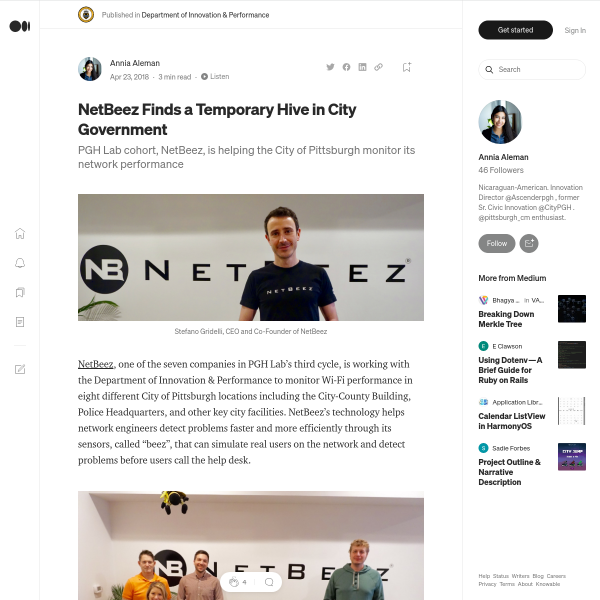 NetBeez Finds a Temporary Hive in City Government – Department of Innovation & Performance – Medium