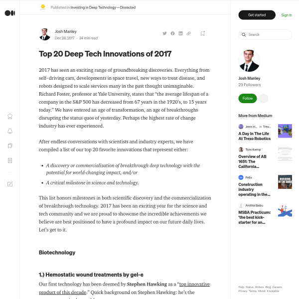 Top 20 Deep Tech Innovations of 2017 – Deep Technology — Dissected – Medium