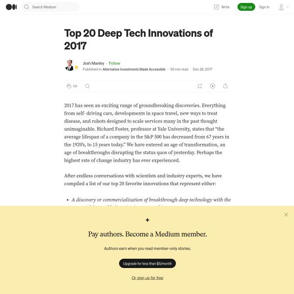 Top 20 Deep Tech Innovations of 2017 – Deep Technology—Dissected – Medium