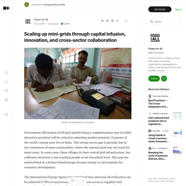 Scaling up mini-grids through capital infusion, innovation, and cross-sector collaboration