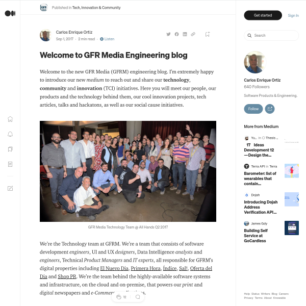 Welcome to GFR Media Engineering blog – Tech, Innovation & Community – Medium