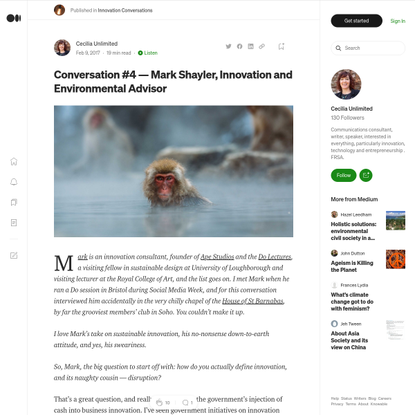 Conversation #4 — Mark Shayler, Innovation and Environmental Advisor