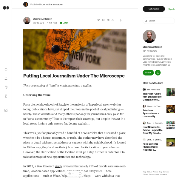 Putting Local Journalism Under The Microscope – Journalism Innovation – Medium