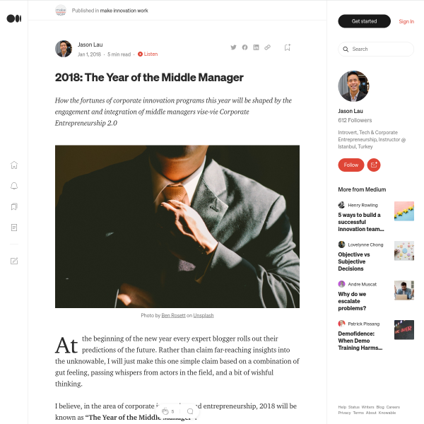 2018: The Year of the Middle Manager – make innovation work – Medium