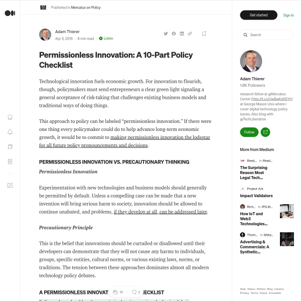 Permissionless Innovation: A 10-Part Policy Checklist