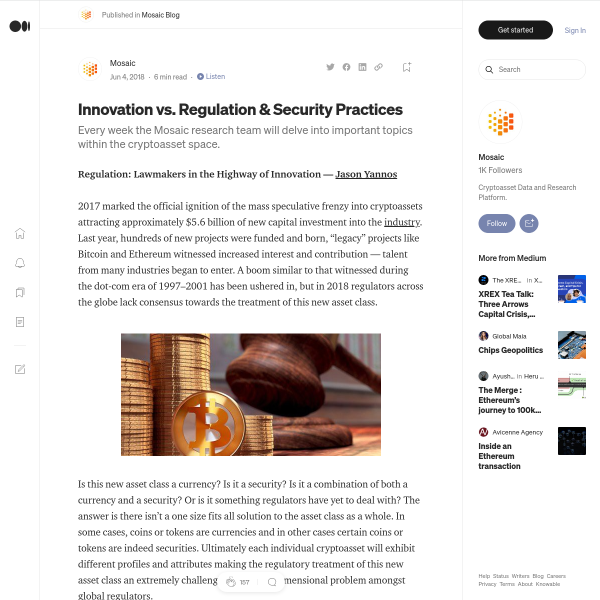 Innovation vs. Regulation & Security Practices – Mosaic Blog – Medium