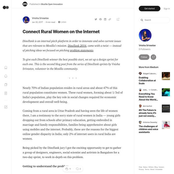Connect Rural Women on the Internet – Mozilla Open Innovation – Medium