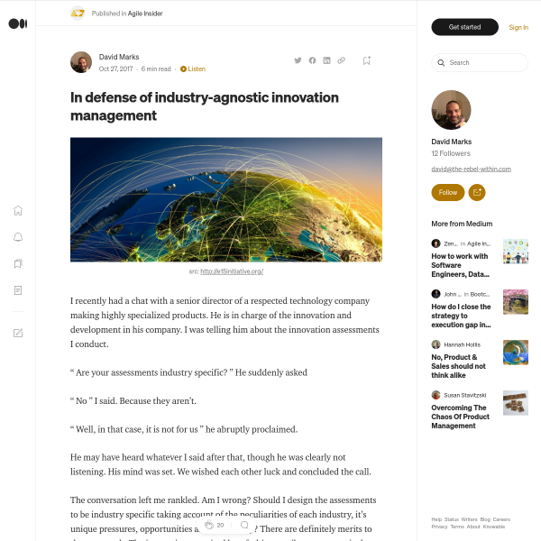 In defense of industry-agnostic innovation management