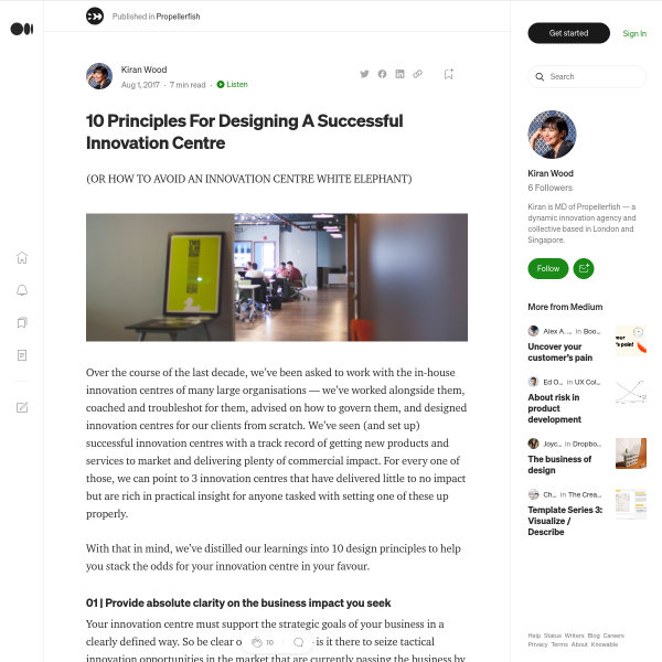 10 Principles For Designing A Successful Innovation Centre