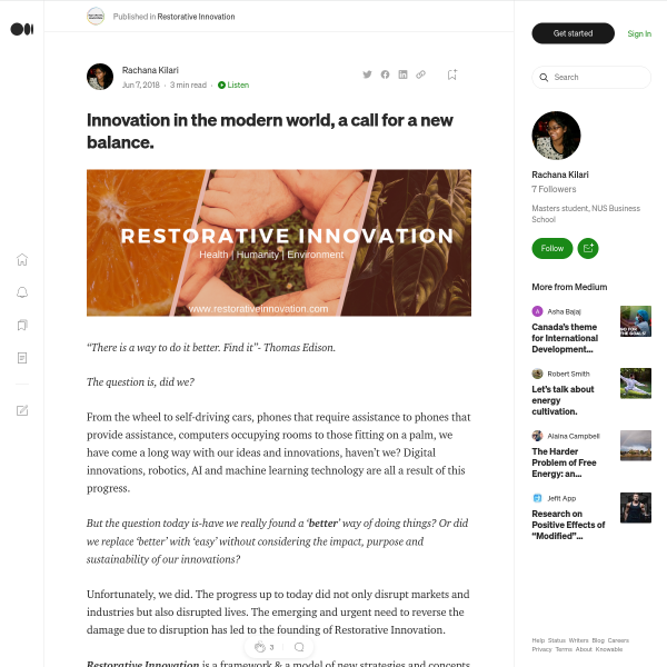 Innovation in the modern world, a call for a new balance.