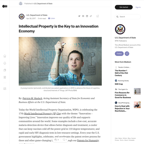 Intellectual Property is the Key to an Innovation Economy