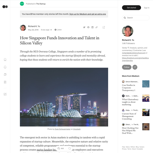 How Singapore Funds Innovation and Talent in Silicon Valley