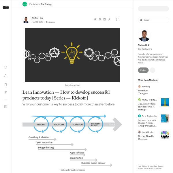 Lean Innovation — How to develop successful products today [Series — Kickoff]