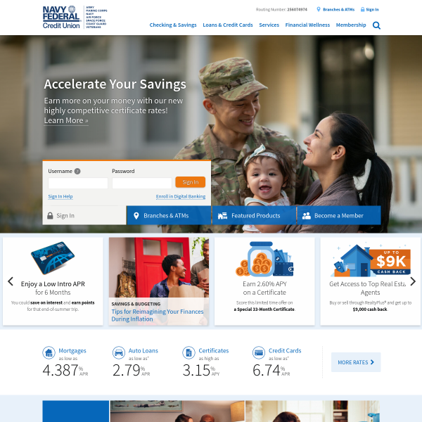 Navy Federal Credit Union | Banking, Loans, Mortgages & Credit Cards screenshot