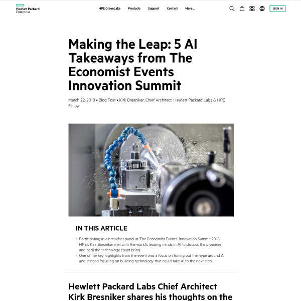 Making the Leap: 5 AI Takeaways from The Economist Events Innovation Summit - HPE Newsroom