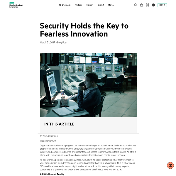 Security Holds the Key to Fearless Innovation - HPE Newsroom
