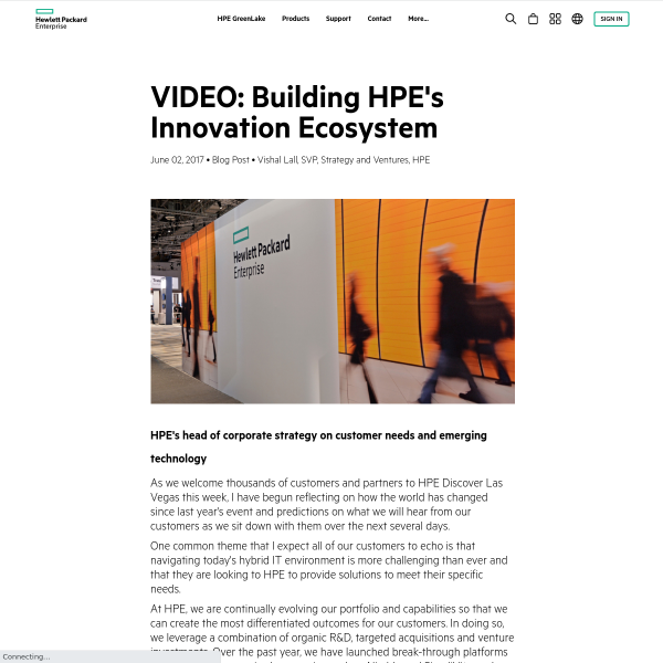 VIDEO: Building HPE's Innovation Ecosystem - HPE Newsroom