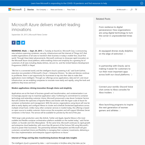 Microsoft Azure delivers market-leading innovations - Stories