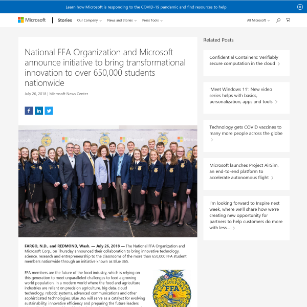 National FFA Organization and Microsoft announce initiative to bring transformational innovation to over 650,000 students nationwide - Stories