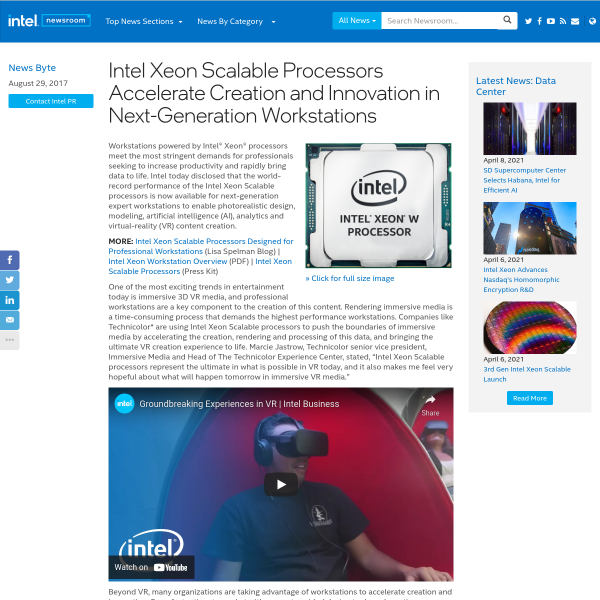 Intel Xeon Scalable Processors Accelerate Creation and Innovation in Next-Generation Workstations - Intel Newsroom