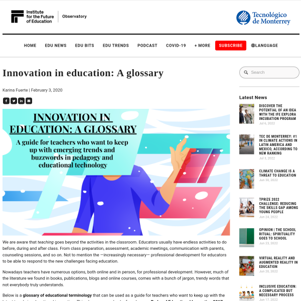 Innovation in education: A glossary